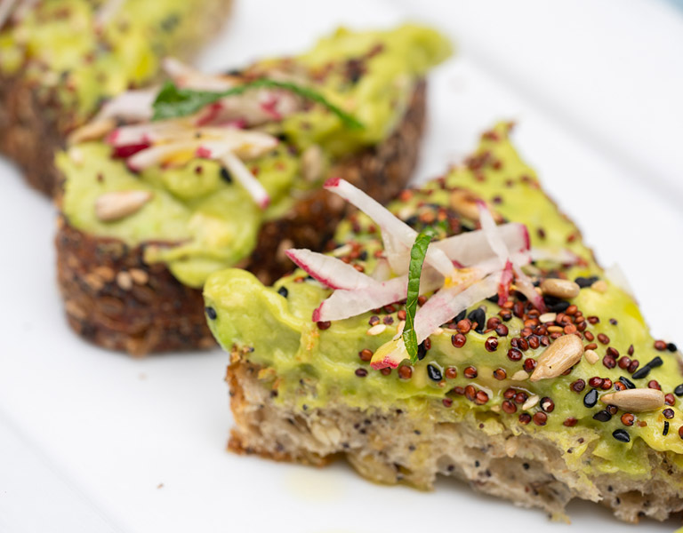 Avocado toast with seed crunch