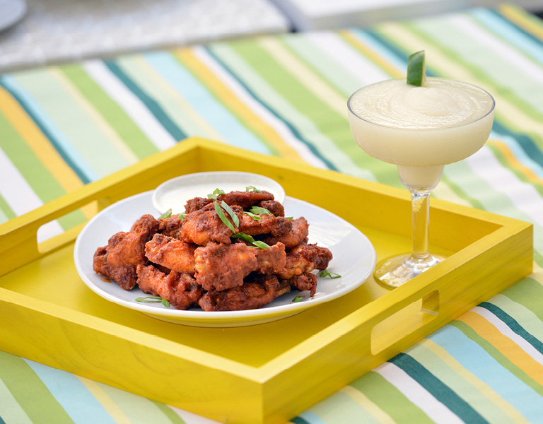 Chicken wings and a frozen margarita