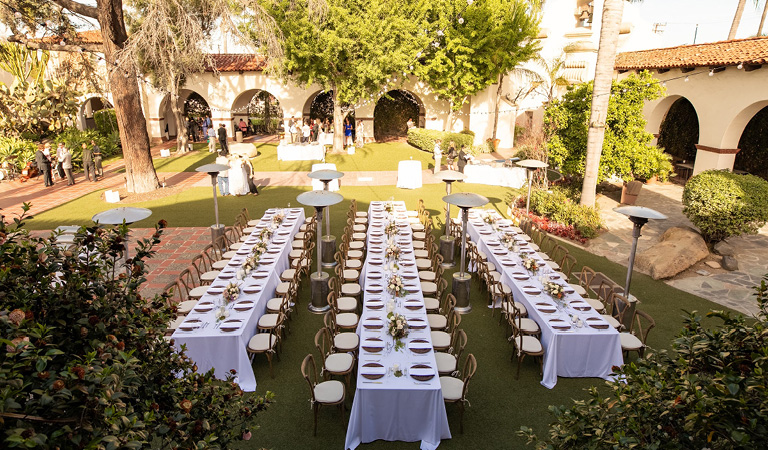 Outdoor private event space at Tangata Restaurant in Orange County