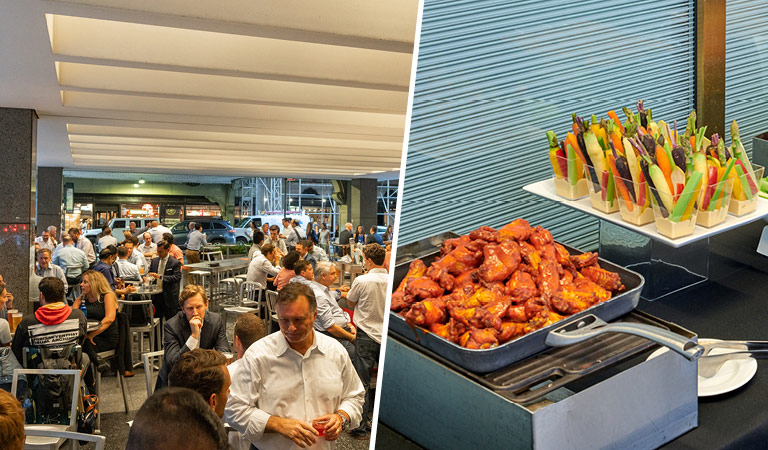 Private event space inside NYC's The Beer Bar and wings and vegetables with dip