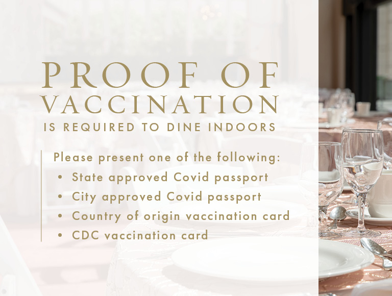 Proof of vaccination is required to dine indoors at The Grand Tier Restaurant