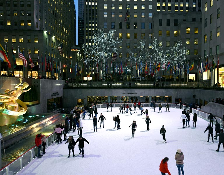 Night Ice Skating at The Rink, Rockefeller Center, NYC