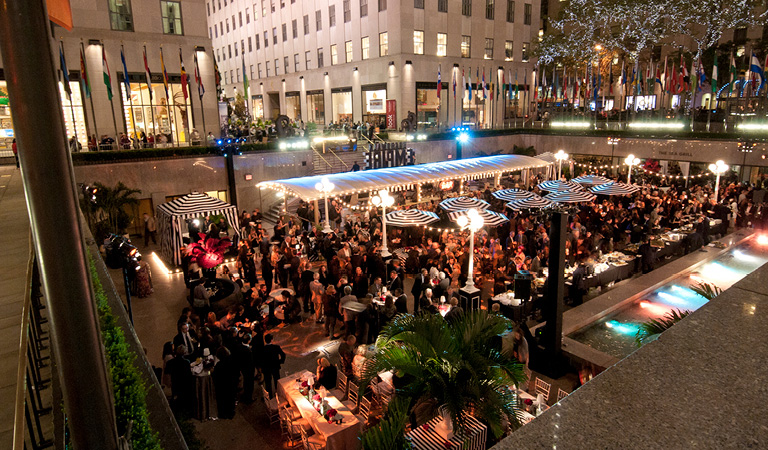 Aerial view of a private event at The Sea Grill at Rockefeller Center in NYC