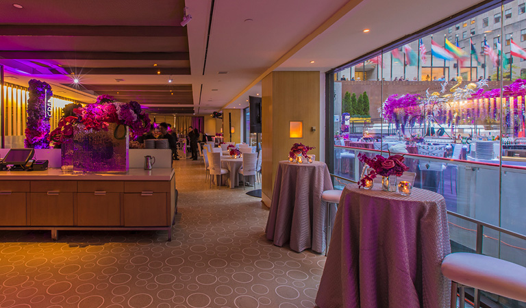 High top tables set up for a private event at The Sea Grill in New York City