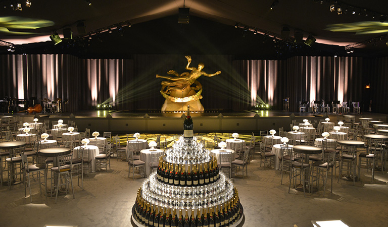 Private event space at The Sea Grill in NYC featuring a wine display