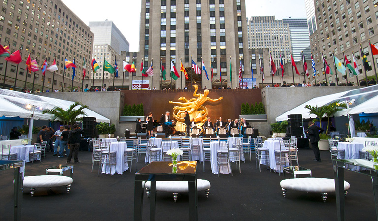 A band performs at a private event at The Sea Grill in NYC