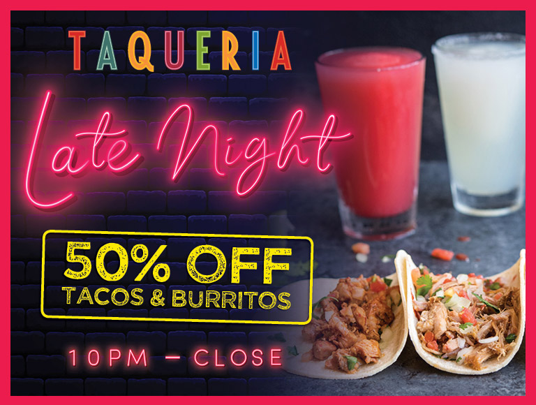 Tortilla Jo's in Downtown Disney Late Night Menu | 50% off tacos & burritos | 10PM - close