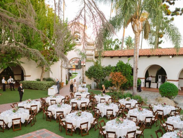Aerial view of outdoor wedding venue