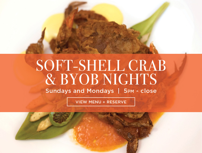 View Menu & Reserve | Soft-Shell crab & BYOB nights | Sundays and Mondays, 5PM - close | NYC French Restaurants