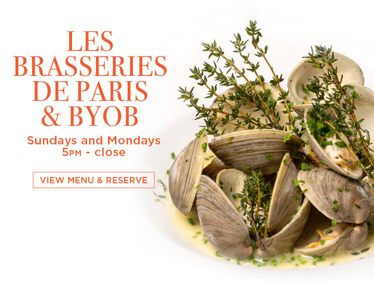 View Menu & Reserve | Les Brasseries de Paris & BYOB at Brasserie 8 1/2 in NYC | Sundays & Mondays | 5PM-Close
