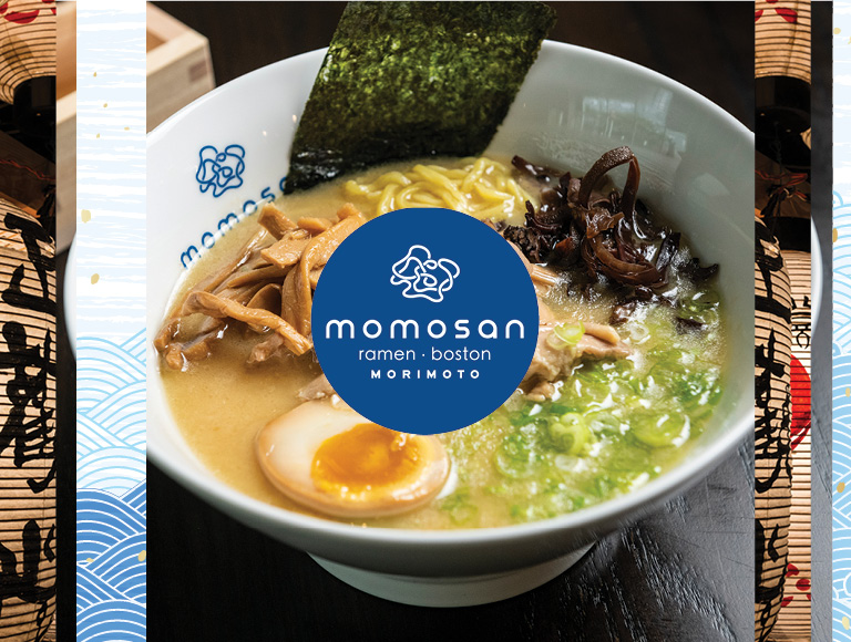 Ramen and tacos served at Momosan Ramen Boston inside Boston's newest food hall, Hub Hall