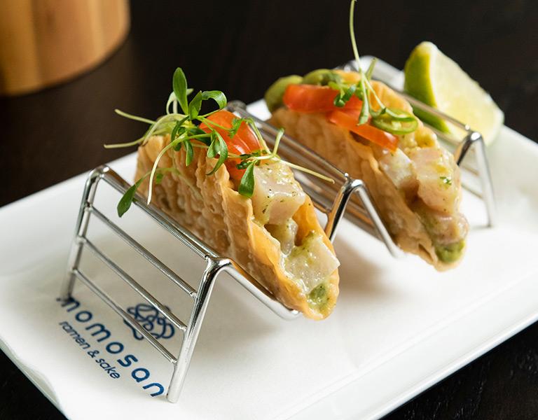 Hamachi Tacos served at Momosan Ramen Boston at Hub Hall