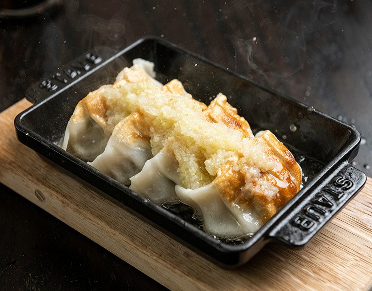 Pork Gyoza served at Momosan Ramen Boston at Hub Hall