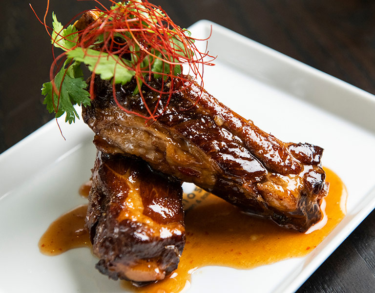 Sticky Ribs served at Hub Hall's Momosan Ramen Boston