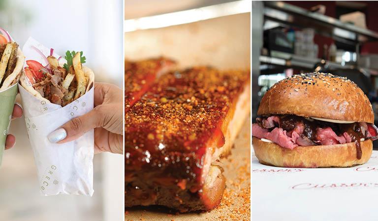 Greek food, BBQ, and a roast beef sandwich served at Boston MA's Hub Hall