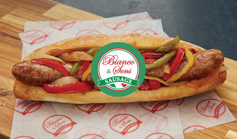 Sausage, Pepper & Onions Sandwich served at Bianco & Sons Sausage at Hub Hall, Boston's new food hall
