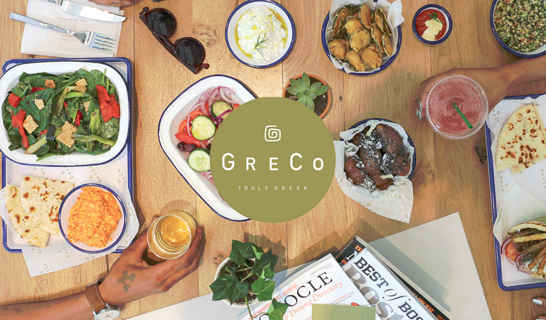 Greek food served at GreCo at Hub Hall in Boston, MA