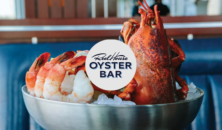 Seafood served at ReelHouse Oyster Bar at Hub Hall in Boston, MA