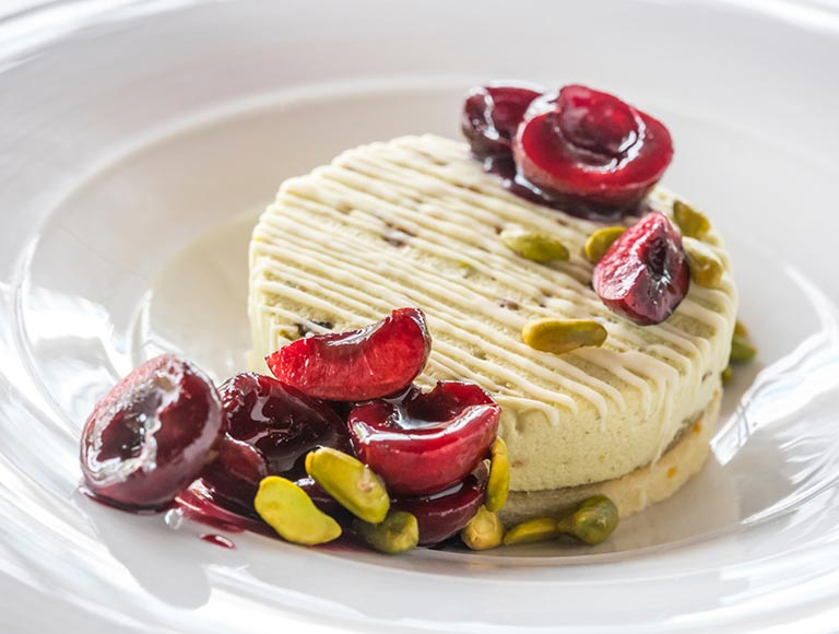 Pistaccio Semifreddo with Cherries, Lincoln Center Restaurant