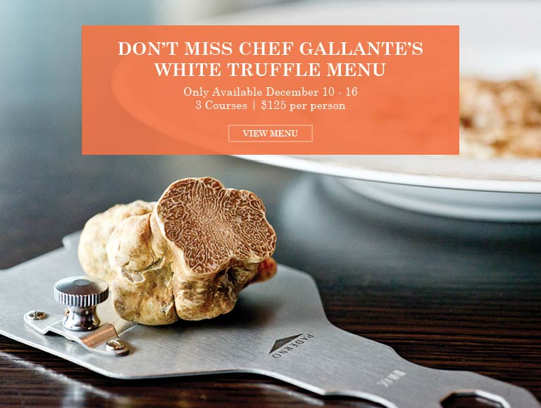 View Chef Gallante's White Truffle Menu & Reserve for a 3-course dinner December 10-16