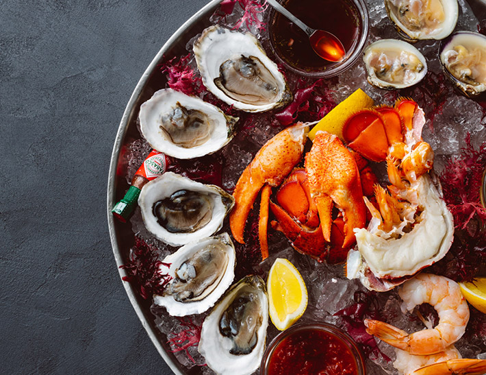 Oysters, shrimp and lobster