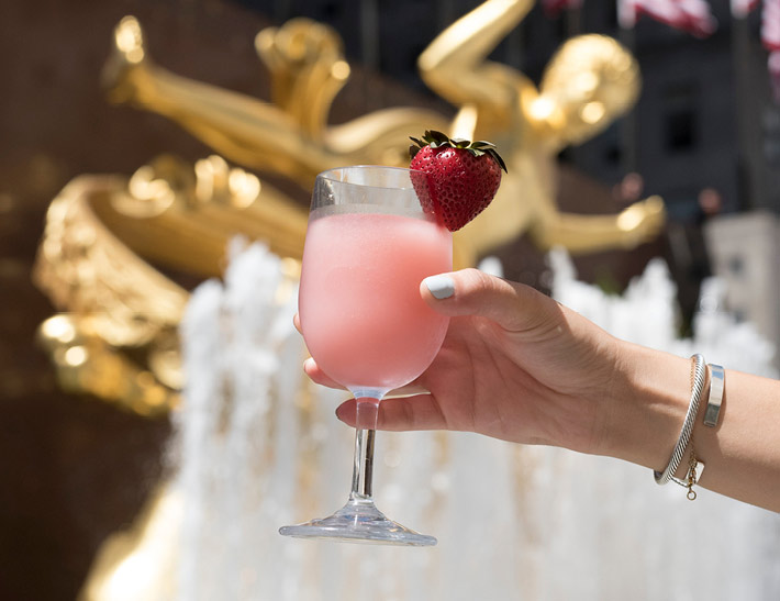 Frozen rosé drink served at Rock Center Café in NYC