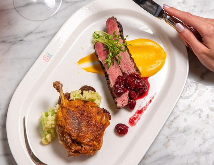 Duck two ways served at Brasserie 8 1/2 in NYC