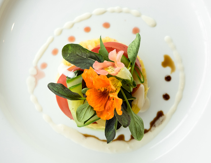 Heirloom Tomato Salad with Cucumber and Edible Flowers