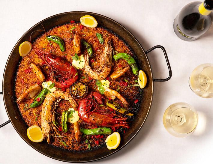 Seafood paella served at La Fonda del Sol in NYC