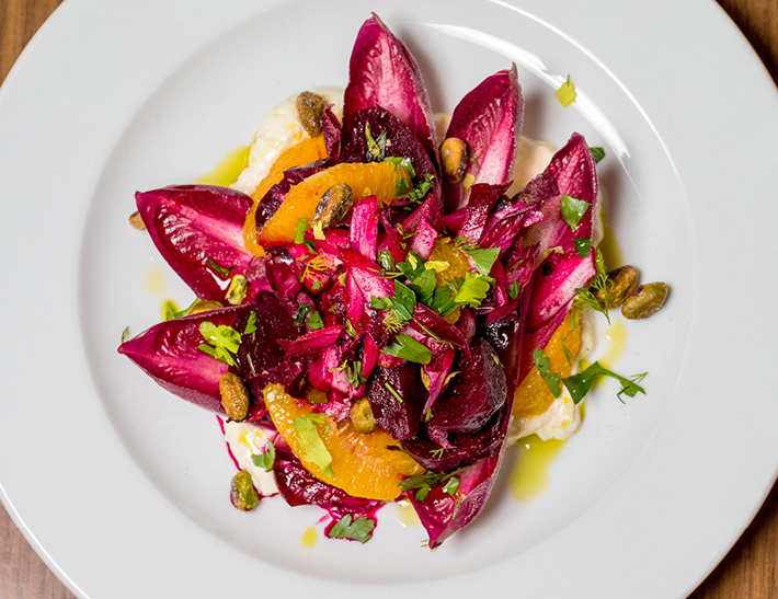 Pink radicchio salad served at STATE grill and bar in NYC