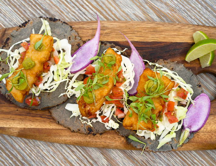 Fish tacos served at Yellow Magnolia Café inside Brooklyn Botanic Garden