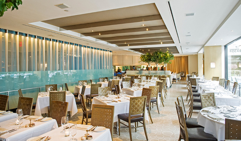 Dining area inside The Sea Grill in Rockefeller Center