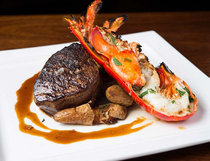 Steak & lobster dinner, holiday dining at Rock Center Cafe, NYC