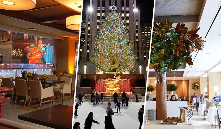 Rockefeller Center dining areas and Rockefeller Center Christmas Tree in NYC