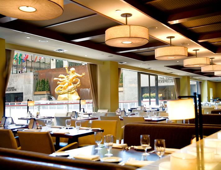 Dining area inside Rock Center Cafe at Rockefeller Center in NYC