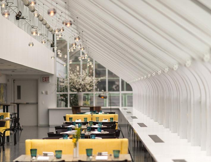 Dining area inside Yellow Magnolia Café inside Brooklyn Botanic Garden