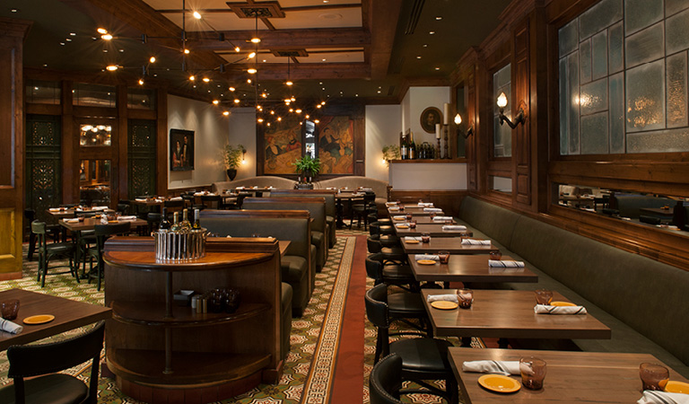 Dining area inside Kendall's Brasserie in Los Angeles