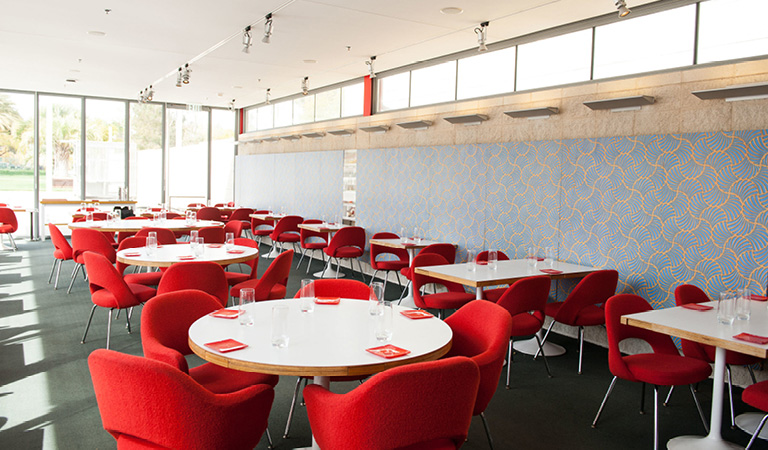 Dining area inside Ray's and Stark Bar at LACMA in Los Angeles
