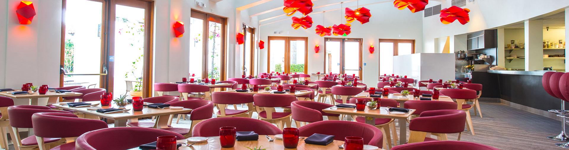 Dining area inside Tangata Restaurant in Orange County