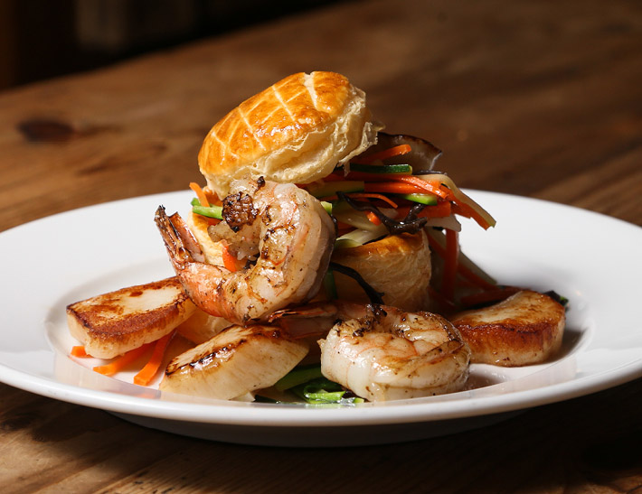 Seafood 'Vol Au Vent' served at Kendall's Brasserie in downtown Los Angeles