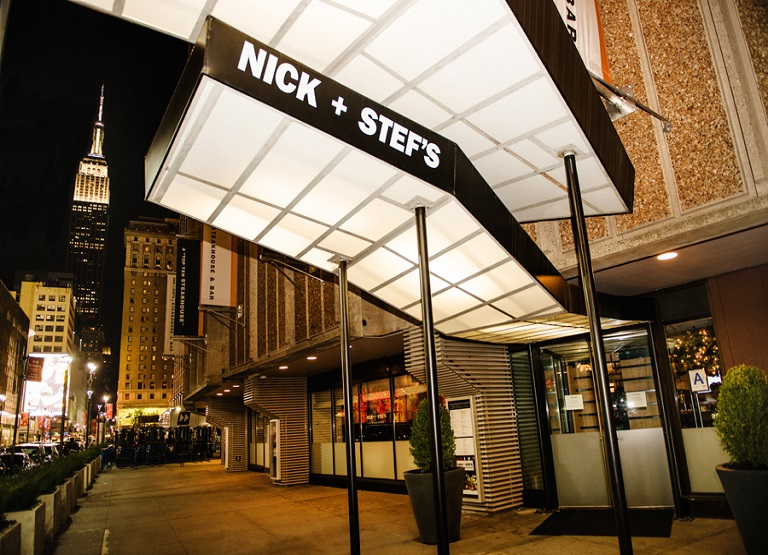 Nick + Stef's NYC entrance