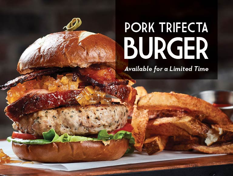 Pork Trifecta Burger available for a limited time, Disney Springs Restaurant