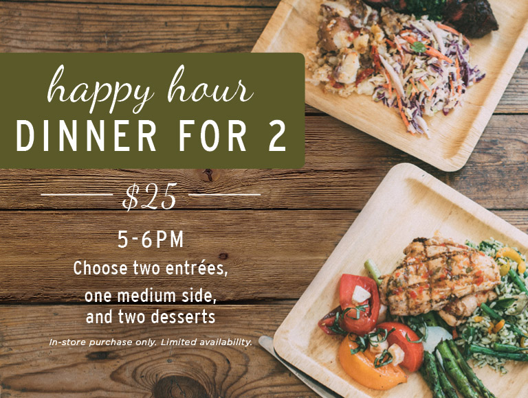 Happy Hour Dinner for 2 at The Kitchen for Exploring Foods | $25, 5-6PM | In-store purchases only | Limited availability