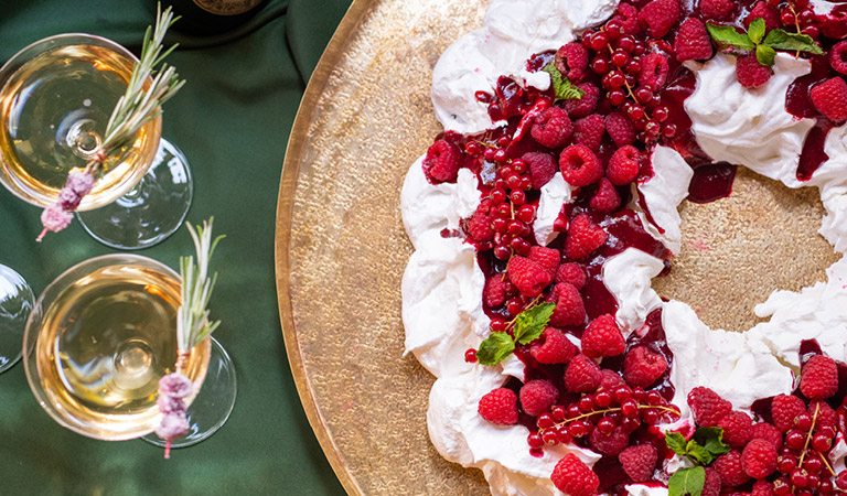 Wine & dessert with whipped cream and berries | Learn More About Holiday Planning with The Kitchen For Exploring Foods