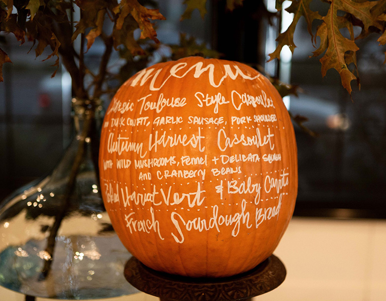 Pumpkin with menu written it | Fall party decor