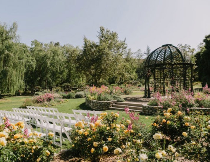 Outdoor private event space at Descanso Gardens in Southern California