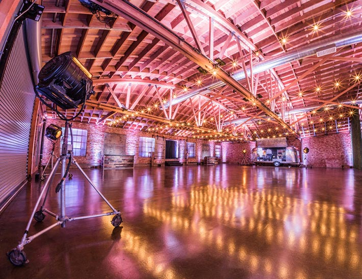 Indoor private event space at the LA River Center & Gardens in Los Angeles