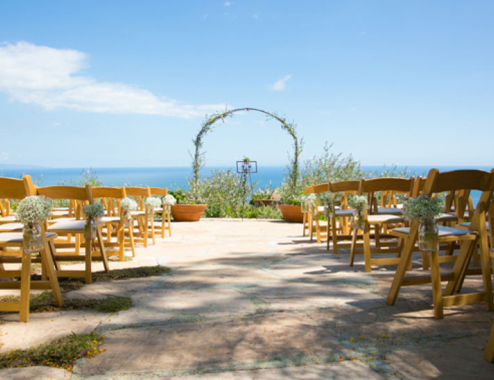 Outdoor private event space overlooking the ocean at Rancho del Cielo in Malibu, CA