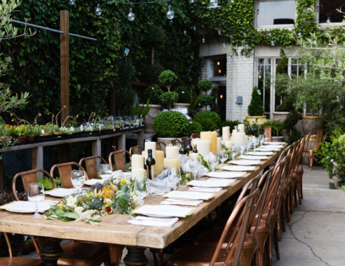 Outdoor private event space at Rolling Greens in Southern California