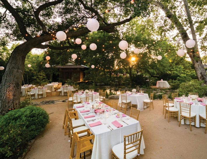 Outdoor private event space at the Storrier Stearns Japanese Garden in Pasadena, CA
